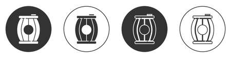 Black Gun powder barrel icon isolated on white background. TNT dynamite wooden old barrel. Circle button. Vector