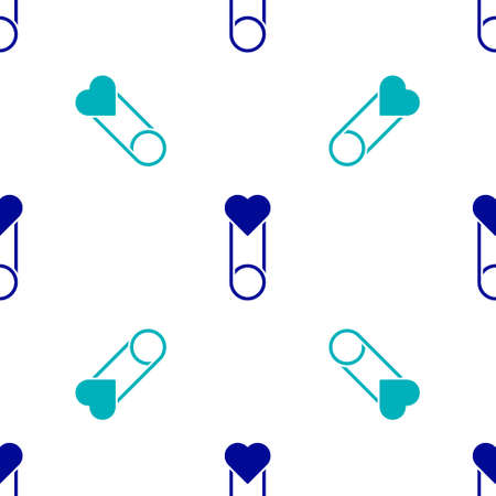Blue Baby clothes pin icon isolated seamless pattern on white background. Classic closed steel safety pin. Vector