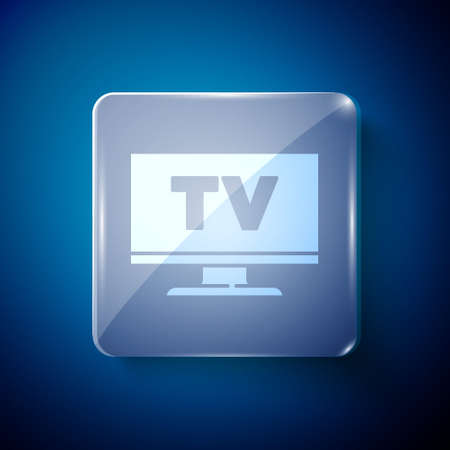 White Smart Tv icon isolated on blue background. Television sign. Square glass panels. Vector Çizim
