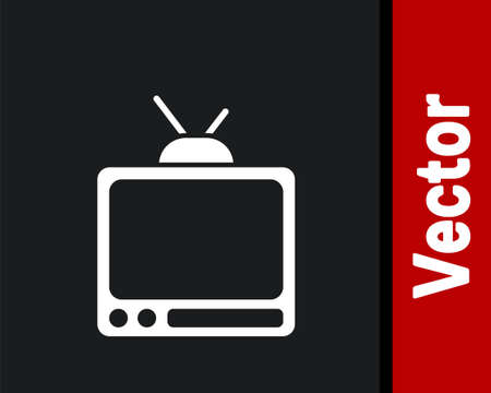 White Retro tv icon isolated on black background. Television sign. Vector Çizim