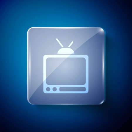 White Retro tv icon isolated on blue background. Television sign. Square glass panels. Vector