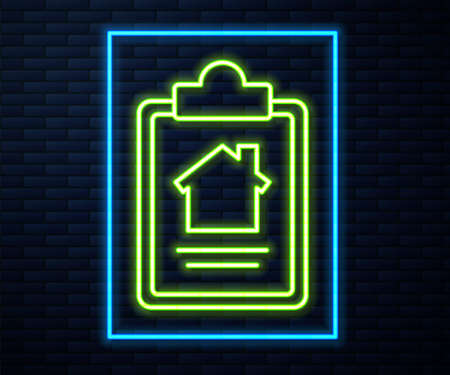 Glowing neon line House contract icon isolated on brick wall background. Contract creation service, document formation, application form composition. Vector Illustration