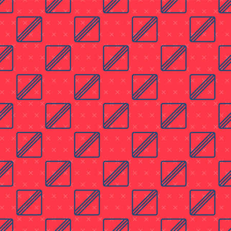 Blue line Sewing Pattern icon isolated seamless pattern on red background. Markings for sewing. Vector Illustration 矢量图像