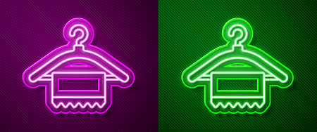 Glowing neon line Hanger wardrobe icon isolated on purple and green background. Clean towel sign. Cloakroom icon. Clothes service symbol. Laundry hanger. Vector Illustration