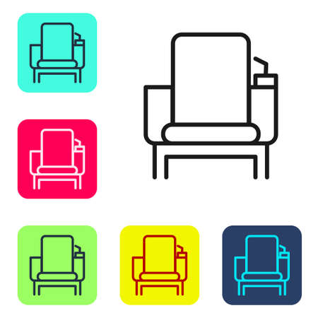 Black line Cinema chair icon isolated on white background. Set icons in color square buttons. Vector Illustration Stock Illustratie