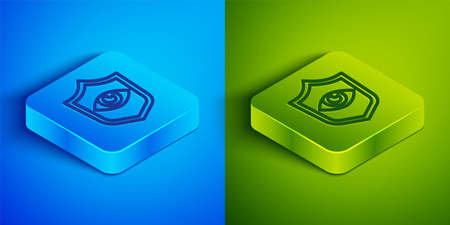 Isometric line Shield and eye icon isolated on blue and green background. Security, safety, protection, privacy concept. Square button. Vector