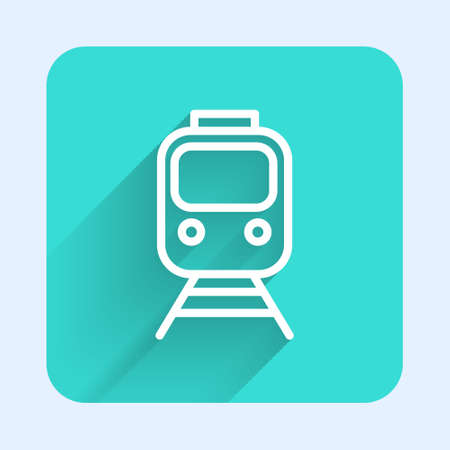 White line Train and railway icon isolated with long shadow. Public transportation symbol. Subway train transport. Metro underground. Green square button. Vector 向量圖像