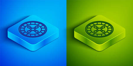 Isometric line Casino roulette wheel icon isolated on blue and green background. Square button. Vector