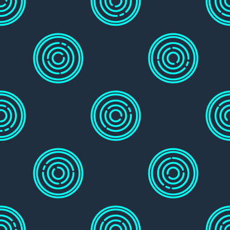 Green line Checker game chips icon isolated seamless pattern on blue background. Vector