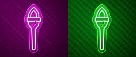 Glowing neon line Torch flame icon isolated on purple and green background. Symbol fire hot, flame power, flaming and heat. Vector 向量圖像