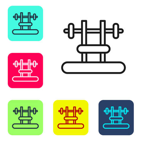 Black line Bench with barbel icon isolated on white background. Gym equipment. Bodybuilding, powerlifting, fitness concept. Set icons in color square buttons. Vector