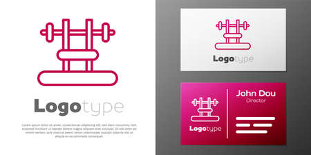 Logotype line Bench with barbel icon isolated on white background. Gym equipment. Bodybuilding, powerlifting, fitness concept. Logo design template element. Vector Illusztráció