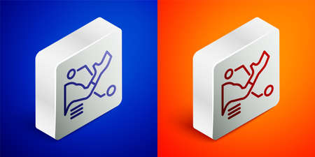 Isometric line Prosthesis hand icon isolated on blue and orange background. Futuristic concept of bionic arm, robotic mechanical hand. Silver square button. Vector Çizim