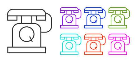 Black line Telephone handset icon isolated on white background. Phone sign. Set icons colorful. Vector Çizim