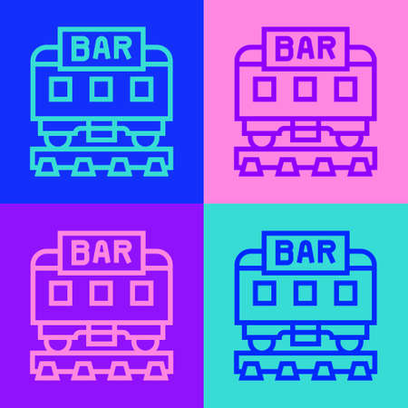 Pop art line Restaurant train icon isolated on color background. Vector