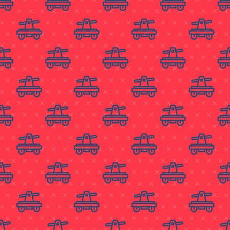 Blue line Draisine handcar railway bicycle transport icon isolated seamless pattern on red background. Vector 向量圖像