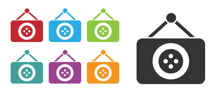 Black Tailor shop icon isolated on white background. Set icons colorful. Vector Illustration