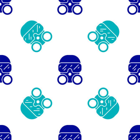 Blue Gas mask icon isolated seamless pattern on white background. Respirator sign. Vector Çizim