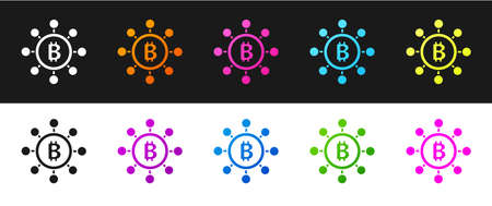 Set Blockchain technology Bitcoin icon isolated on black and white background. Abstract geometric block chain network technology business. Vector