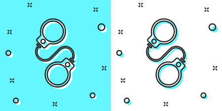 Black line Handcuffs icon isolated on green and white background. Random dynamic shapes. Vector Stock Illustratie