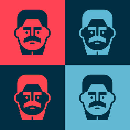 Pop art Portrait of Joseph Stalin icon isolated on color background. Vector 向量圖像