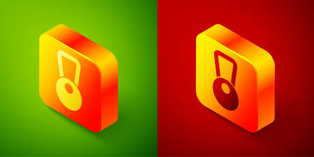 Isometric Kettlebell icon isolated on green and red background. Sport equipment. Square button. Vector