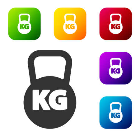 Black Kettlebell icon isolated on white background. Sport equipment. Set icons in color square buttons. Vector