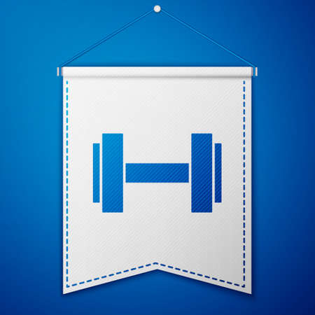Blue Dumbbell icon isolated on blue background. Muscle lifting icon, fitness barbell, gym, sports equipment, exercise bumbbell. White pennant template. Vector Illusztráció