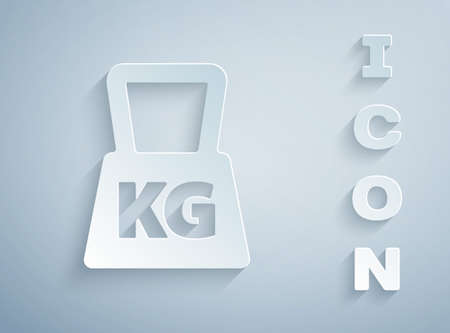 Paper cut Weight icon isolated on grey background. Kilogram weight block for weight lifting and scale. Mass symbol. Paper art style. Vector