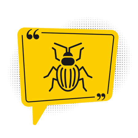 Black Chafer beetle icon isolated on white background. Yellow speech bubble symbol. Vector