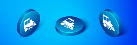 Isometric Toy train icon isolated on blue background. Blue circle button. Vector 向量圖像