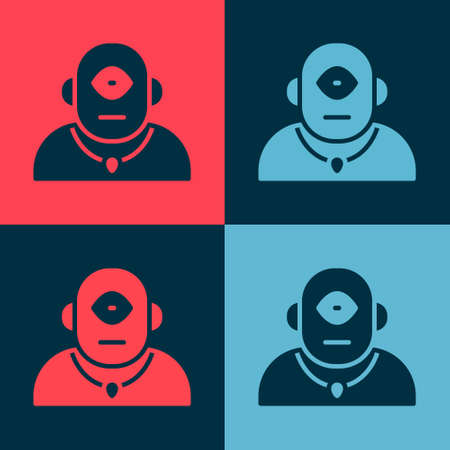 Pop art Cyclops icon isolated on color background. Vector