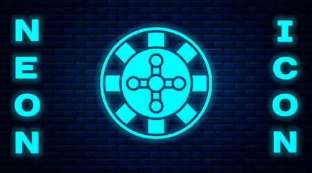 Glowing neon Casino roulette wheel icon isolated on brick wall background. Vector