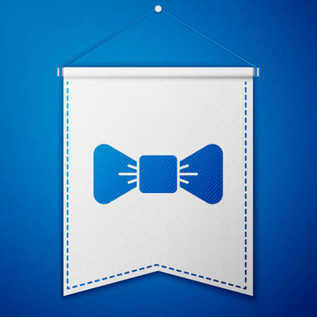 Blue Bow tie icon isolated on blue background. White pennant template. Vector 矢量图像