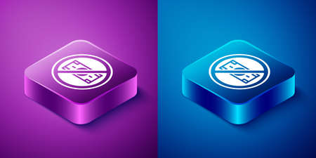 Isometric No money icon isolated on blue and purple background. Prohibition of money. Square button. Vector