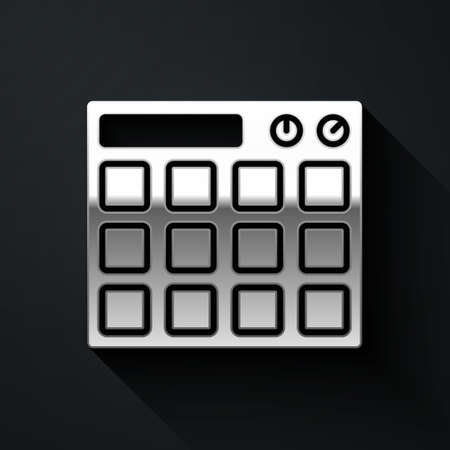 Silver Drum machine music producer equipment icon isolated on black background. Long shadow style. Vector