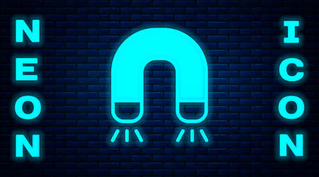 Glowing neon Magnet icon isolated on brick wall background. Horseshoe magnet, magnetism, magnetize, attraction. Vector 矢量图像