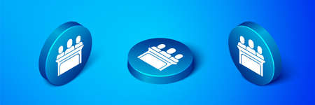 Isometric Jurors icon isolated on blue background. Blue circle button. Vector