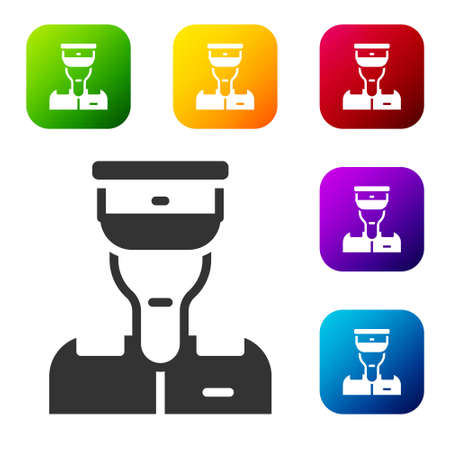 Black Train conductor icon isolated on white background. Set icons in color square buttons. Vector 向量圖像