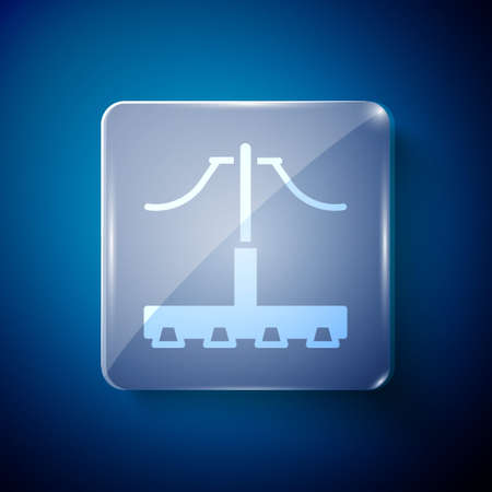 White Railway icon isolated on blue background. Railroad overhead lines. Contact wire. Square glass panels. Vector