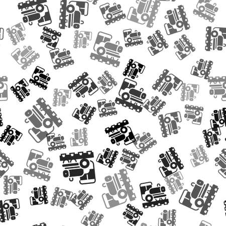 Black Vintage locomotive icon isolated seamless pattern on white background. Steam locomotive. Vector