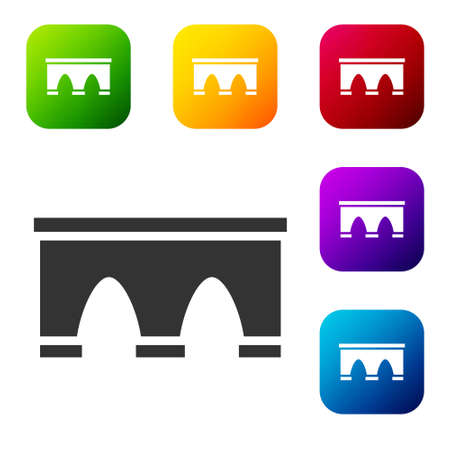 Black Bridge for train icon isolated on white background. Set icons in color square buttons. Vector