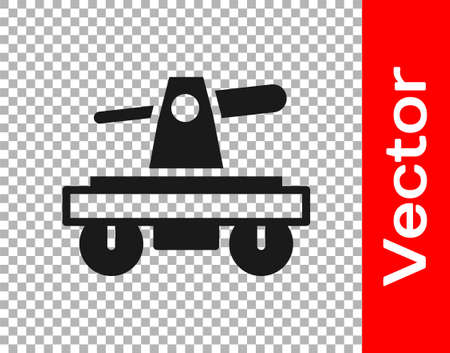 Black Draisine handcar railway bicycle transport icon isolated on transparent background. Vector