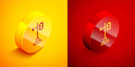 Isometric Train traffic light icon isolated on orange and red background. Traffic lights for the railway to regulate the movement of trains. Circle button. Vector