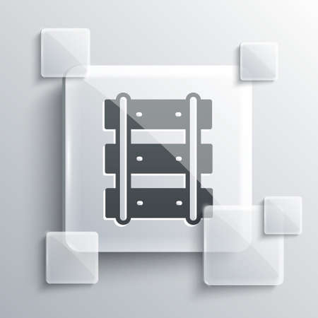 Grey Railway, railroad track icon isolated on grey background. Square glass panels. Vector