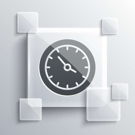 Grey Train station clock icon isolated on grey background. Square glass panels. Vector