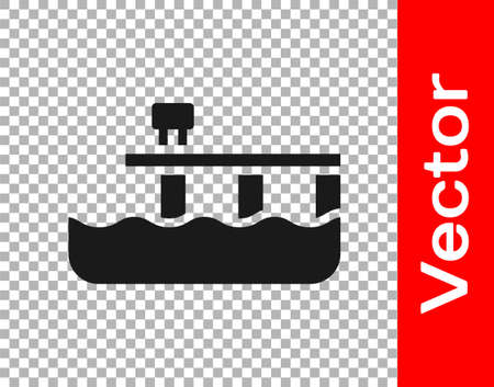 Black Beach pier dock icon isolated on transparent background. Vector