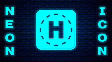 Glowing neon Helicopter landing pad icon isolated on brick wall background. Helipad, area, platform, H letter. Vector  イラスト・ベクター素材