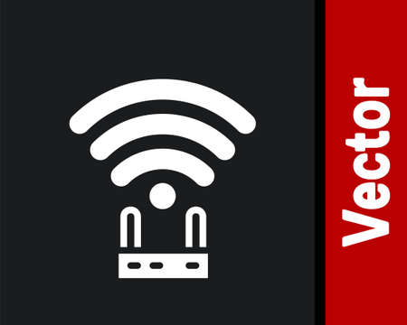 White Router and wifi signal icon isolated on black background. Wireless  modem router. Computer technology internet. Vector