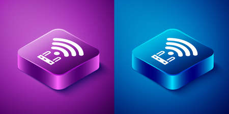 Isometric Router and wifi signal icon isolated on blue and purple background. Wireless  modem router. Computer technology internet. Square button. Vector 向量圖像